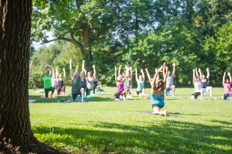 Yoga by the Barn Old Salem Rock Water Yoga Winston Salem NC photo by Andrea Littell, Townies