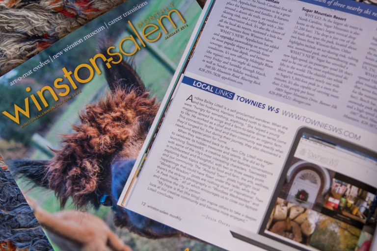 Townies blog featured in Winston-Salem Monthly Magazine